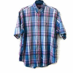 Ralph Lauren Blue Plaid Short Sleeve B/D XL